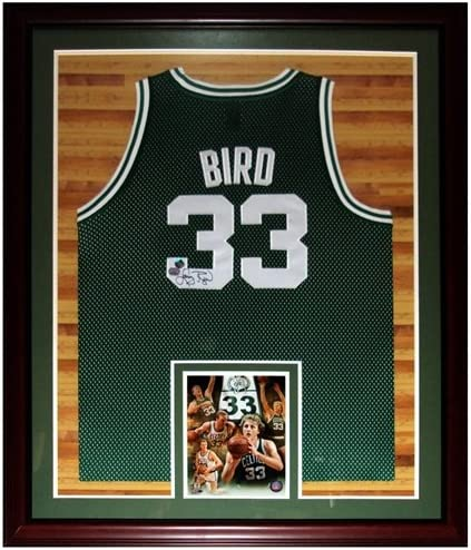 Larry Bird Autographed Boston Celtics Green 33 Deluxe Framed Jersey Court Background Bird Holo At Amazon S Sports Collectibles Store