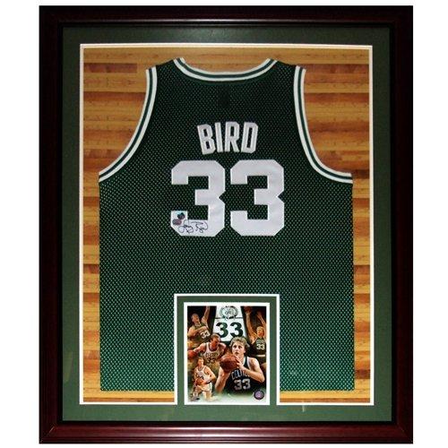 Larry Bird Autographed Boston Celtics (Green #33) Deluxe Framed Jersey - Court Background - Bird Holo
