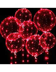 Light up Balloons, 7 Packs 20 Inch Valentines Bobo Balloons with 10ft Led Red String Lights for Valentines Day Wedding Christmas Birthday Party Decoration