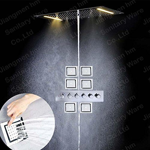 Bubble Water Column - hm Concealed Thermostatic Shower Set with 6Body Jet LED Shower Head 15x31.5