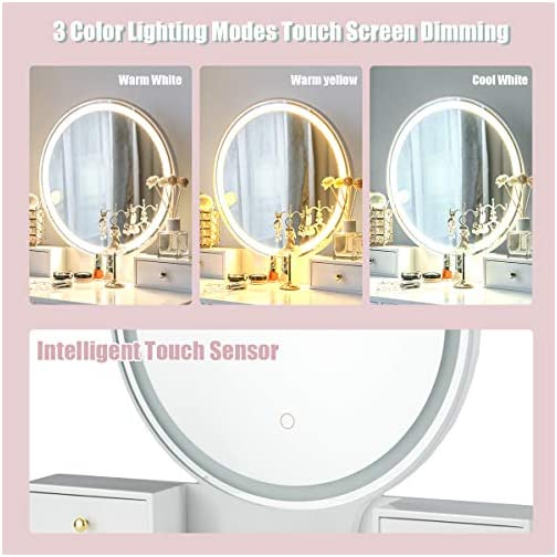 CHARMAID Vanity Set with Touch Screen Dimming Mirror, 3 Color Lighting Modes, Dressing Table with 4 Sliding Drawers…