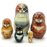 Black Cat nesting dolls Russian Hand Carved Hand Painted 5 piece matryoshka Set