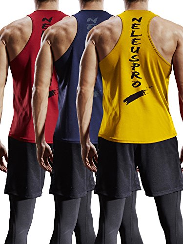 Neleus Men's 3 Pack Mesh Workout Muscle Tank Top,5007,Red,Navy Blue,Yellow,US M,EU L (Back Performance Mesh Gym)