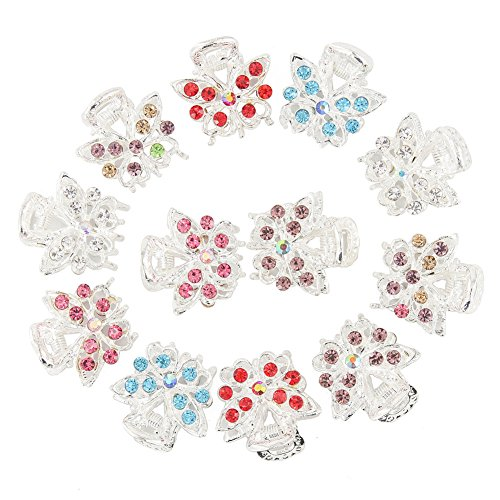 Yeshan Set of 12pcs Butterfly Design Silver Mini Claw Clip,with Rhinestone and Crystal Alloy Jaw Hair Clip (Silver Mini Clips)