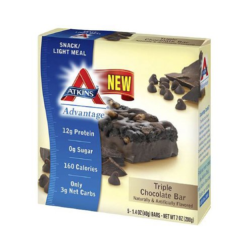 Atkins Advantage Bar - Triple Chocolate - Box of 5 - 1.4 oz - Only 3g Net Carbs