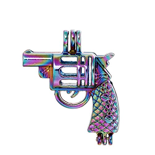 - 10pcs Colored Revolver Gun Pearl Beads Cage Locket Pendant-Add Your Own Pearls, Stones, Crystals, Rock to Cage, Add Perfume or Essential Oil to Create a Scent Diffusing Locket Pendant Charms (Gun)