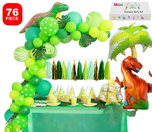 T Rex Party Supplies (Dinosaur Party Supplies Little Dino Party Decorations Set forBoyJurassic World Park T Rex BirthdayBalloons Arch Garland Kit Blow Up Dinosaurs)