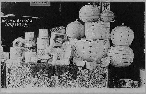 Alaska Native Baskets - Native made baskets of s.w. Alaska Vintage Black & White Photograph g9