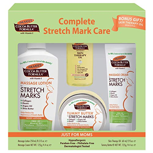 Complete Stretch Mark Care Kit for Expectant Moms from Palmer's Cocoa Butter Formula | for Stretch Marks & Pregnancy Skin Care | Dermatologist Approved & Suitable for Sensitive Skin | 4 pc Gift Set (Best Body Lotion To Prevent Stretch Marks)