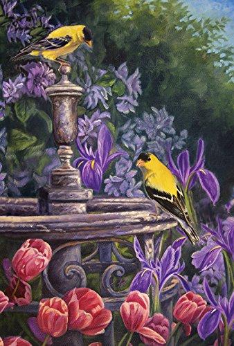 Toland Home Garden Gold Finch Birdbath 28 x 40 Inch Decorative Spring Summer Flower Yellow Bird House Flag Large Outside Birdbath