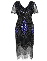 Blue & Silver 1920s Sequin Art Dress with Sleeve