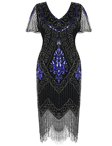 Great Gatsby Movie Clothes (PrettyGuide Women's 1920s Dress Art Deco Cocktail Dress Short Sleeve XL Blue)