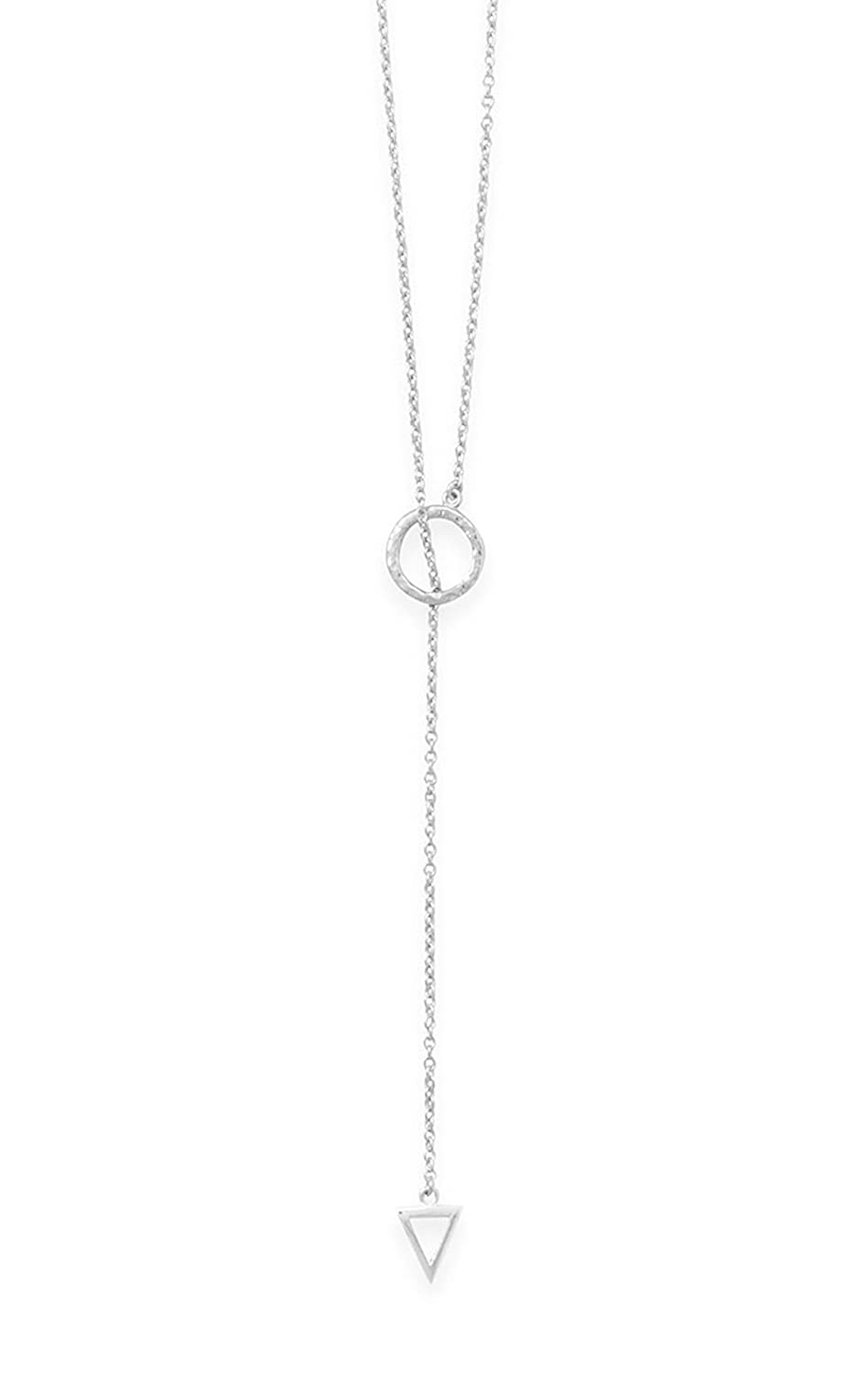 24 inch .925 Sterling Silver Lariat Necklace, 12mm Circle, 8x10mm Triangle Silver Messages 34061-SM