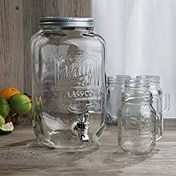 Jay Imports Beverage Dispenser Set - Dispenser (2 Gallon)/ 4 Mason Jar Mugs With Handle