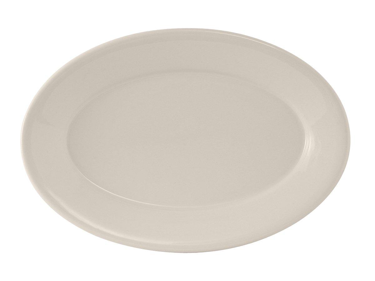 Tuxton TRE-039 Vitrified China Reno Oval Platter, Wide Rim, Rolled Edge, 13-1/2