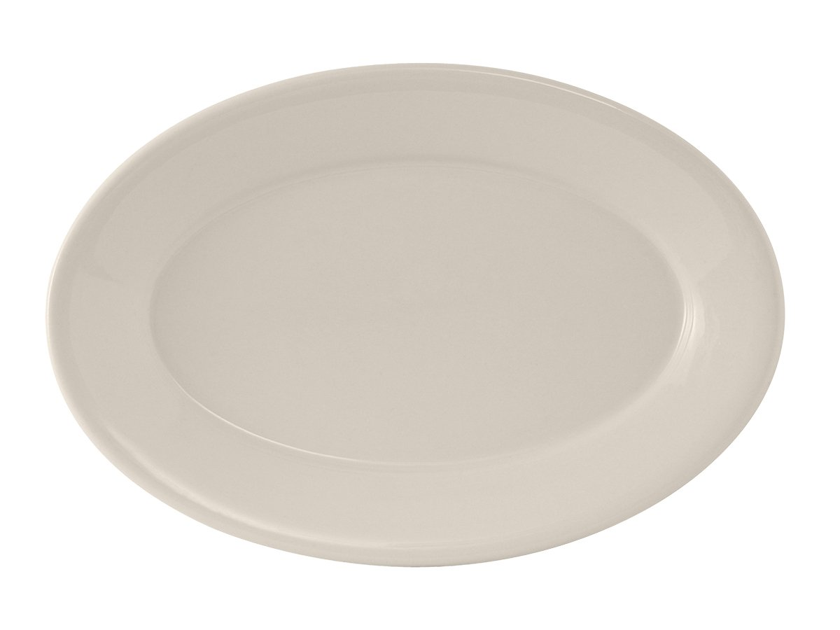 Tuxton TRE-026 Vitrified China Reno Oval Platter, Wide Rim, Rolled Edge, 8-1/4'' x 5-3/4'', Eggshell (Pack of 36),