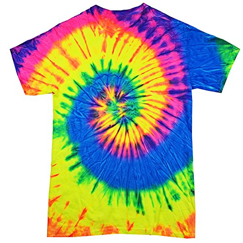 Tie Dyed T-shirt (Colortone Tie Dye T-Shirt, Blue Neon Rainbow-XL)