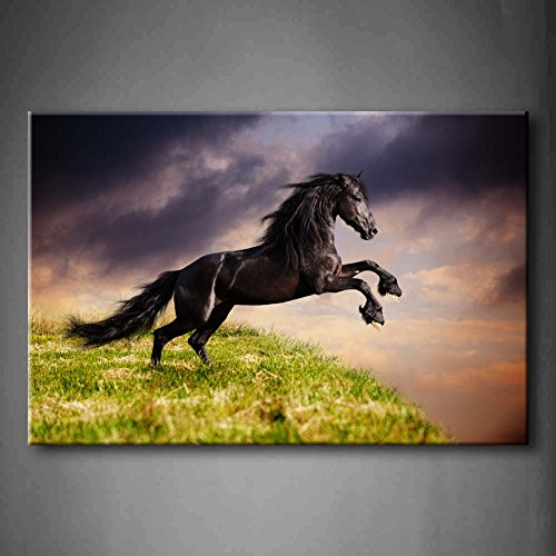 First Wall Art - Black Friesian Running Horse Gallop On The Field On Sunset Grass Wall Art Painting The Picture Print On Canvas Animal Pictures For Home Decor Decoration Gift (Stretched By Wooden Frame,Ready To Hang)