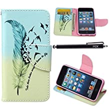 iPod Touch 5 Case, i Touch 6 Case Wallet, iYCK Premium PU Leather Flip Folio Carrying Magnetic Closure Protective Shell Wallet Case Cover for iPod Touch 5/6 with Kickstand Stand - Feather Bird