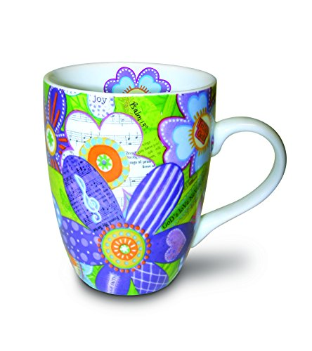 Divinity Boutique Inspirational Ceramic Mug, Musical Flowers with Scripture, Multicolor