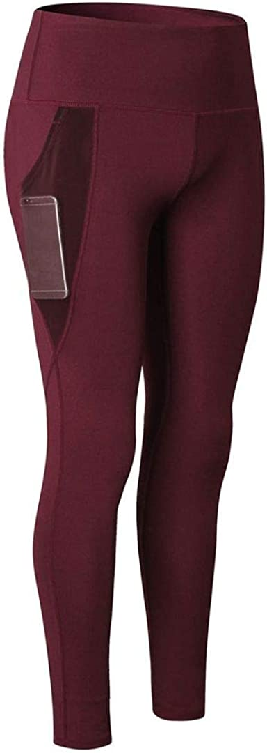 SOUTHSKY Women's Yoga Pants with High-Waist Tummy Control Workout Running Stretching Yoga Leggings with Pockets (XXL) Wine Red