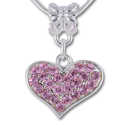 Girls Necklace Heart (SmitCo LLC Kids Jewelry - Girls Necklaces - Heart Necklace For Little, Young, Tween or Teen Girl - Silver Tone Pendant Necklace with Pink Rhinestones for Children - Comes In Gift Box)