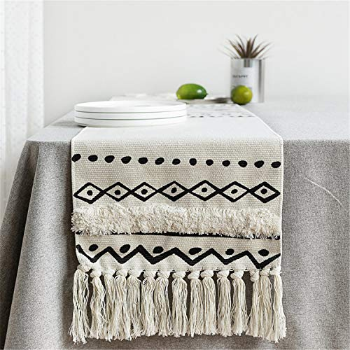 Newisher Black and White Bohemian Cotton Handmade Woven Tufted Geometric Pattern Short Table Runner Tassels for Living Room Kitchen Party Wedding Decoration 59 Inch