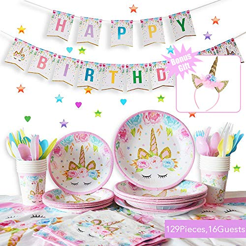 Unicorn Themed Party Supplies Set - Serves 16, 129 Pcs - Perfect for Girls Birthday,Baby Shower and Unicorn Themed Party - BONUS Unicorn Headband -