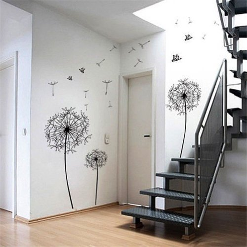 1 X Dandelion Flowers Tree Butterflies Removable Vinyl Wall Stickers Mural Home Decal Kids Room Decor (AWQE)