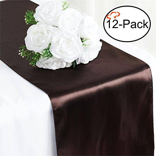 Tiger Chef 12-Pack Chocolate Brown 12 x 108 inches Long Satin Table Runner for Wedding, Table Runners fit Rectange and Round Table Decorations for Birthday Parties, Banquets, Graduations, - Blue Color Brown