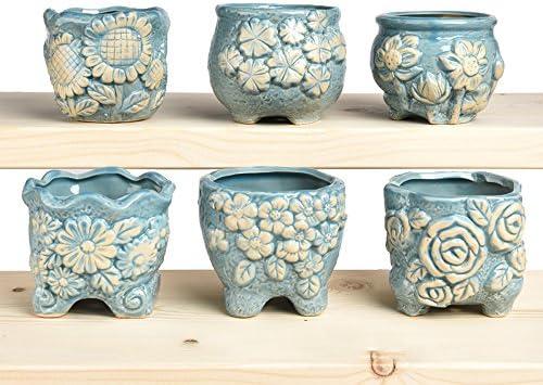 陶器ミニ植木鉢 マット表面 多肉植物 サボテン鉢 フラワーポット プランター容器 フルカラー 6個入り
