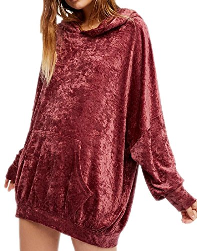 (MK988 Womens Stylish Pullover Hooded Velour Loose Sweatshirt Coat Wine Red OS)