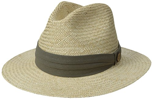 Tommy Bahama Men's Panama Safari Hat with 3 Pleat Cotton Band, Taupe, Large/X-Large