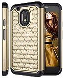 Moto G4 Play Case, Moto G Play Case, Style4U [Shockproof] Studded Rhinestone Crystal Bling Hybrid Armor Case for Motorola Moto G4 Play / Moto G Play XT1607 / XT1609 with 1 Stylus [Gold / Black]