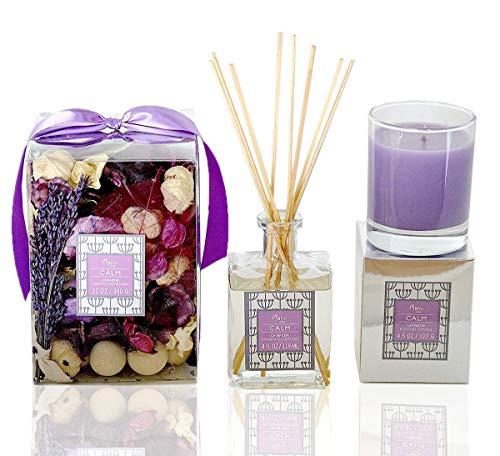 Manu Home Lavender Gift Set ~ Includes CALM Lavender potpourri (12oz), Lavender Candle (4.5oz) & Lavender Reed Diffuser (4oz) & 8 Reeds Sticks.
