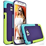 Galaxy S6 Edge Case, MagicMobile® Hard Hybrid Rugged Slim Case For Samsung Galaxy S6 Edge Anti-Slip Smooth Pattern Bumper Rubber [Purple/Teal/Green] Protective Armor Case Cover Skin For Galaxy S6 Edge