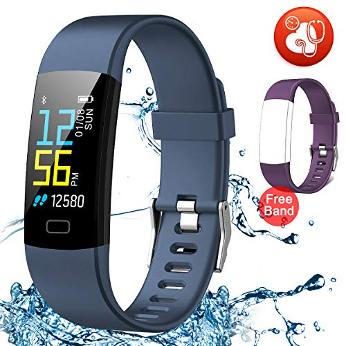 Juboury Fitness Tracker HR, Activity Tracker Watch Heart Rate Monitor, Waterproof Smart Bracelet Step Counter, Calorie Counter, Pedometer Watch Kids Women Men, Android & iOS (Purple-Blue)