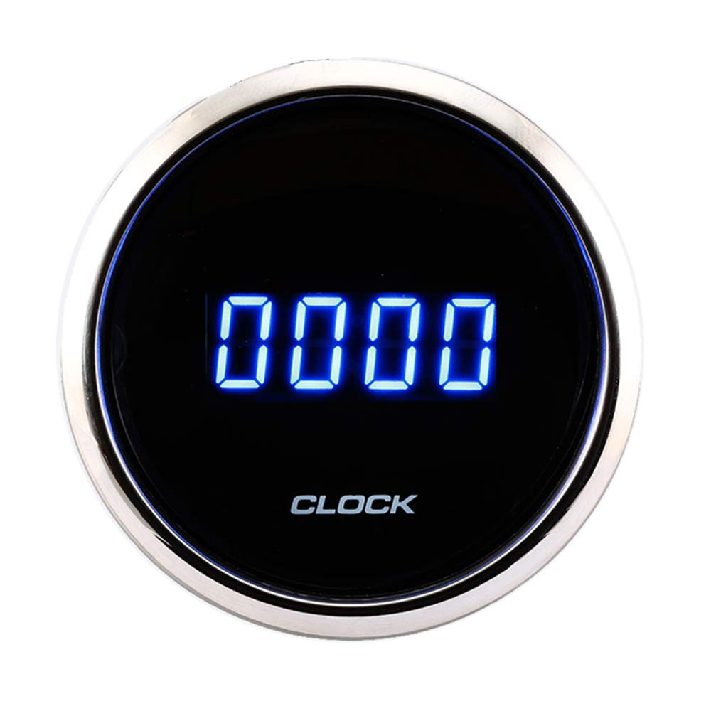 MOTOR METER RACING 2'' Digital Clock Gauge 24-Hour Blue LED Display Waterproof Pin-Style Install