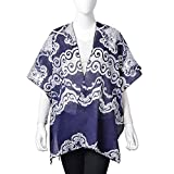 Navy and White 100% Polyester Wavy Lace Pattern Swimsuit Cover-ups Kimono For Women One Size