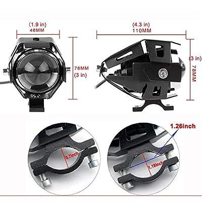 125W U5 Motorcycle Headlight LED Fog Llights Spotlight DRL Daytime Running Flashlight Lights With Switch For Motorcycle Bicycle Dirt Bikes ATV UTV Cruisers (Black): Automotive