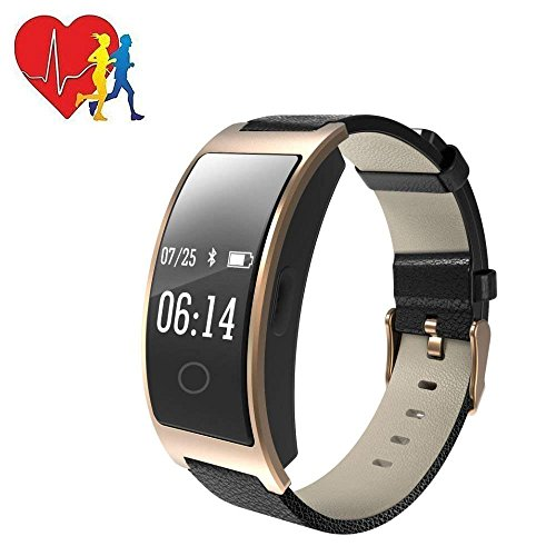 Hangang Fitness Tracker HR, CK11S Activity Tracker Watch with Heart Rate Monitor, IP67 Waterproof Smart Bracelet with Calorie Counter Pedometer Watch for Android and iOS(gold)