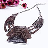 QIYUN.Z (TM) Womens Chunky Bold Square Bib Statement Chain Link Collar Necklace Earrings Set