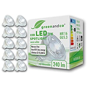 10x greenandco® CRI 90+ MR16 GU5.3 LED Spot 3W Replaces 20W 200lm 2700K (Warm White) 38° Beam Angle 12V AC/DC Glass Body…