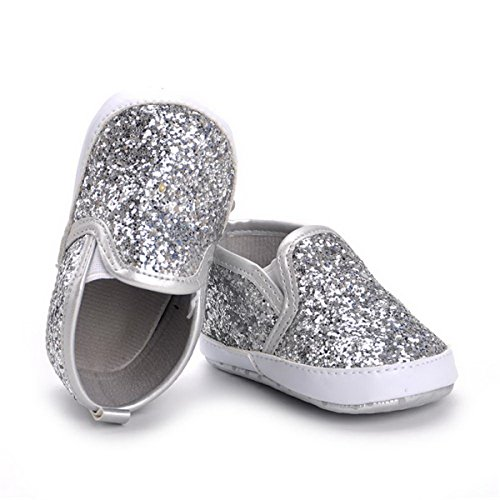 - HONGTEYA Baby Boy Girls Sequins Crib Shoes Toddler Casual Glitter Moccasins Shoes Kids Sneakers (0-6 Months/4.33inch) Silver