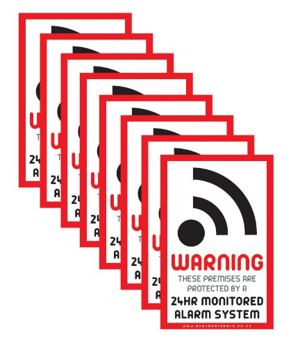 8 x Intruder Alarm Warning Security Stickers Signs for Internal or External use AlarmStickers.co.uk