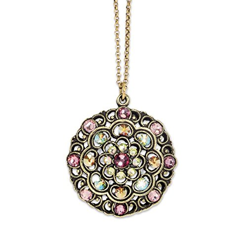 Anne Koplik Antique Brass Swarovski Crystal Belle Epoch Style Blush Pendant Necklace