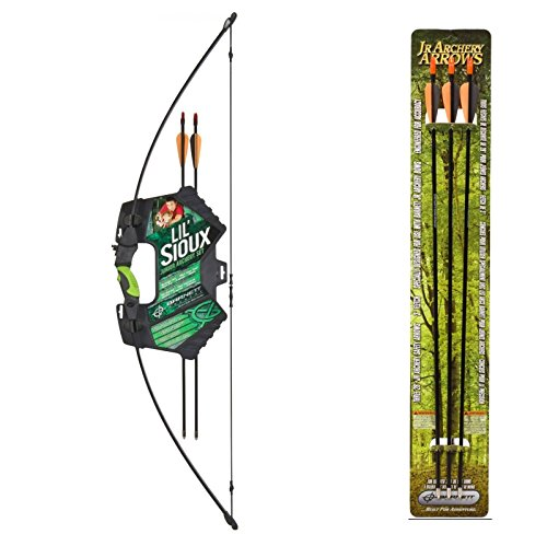Barnett Lil Sioux Jr. Recurve Archery Set + Barnett Outdoors Junior Archery 28-Inch Arrows (3 Pack) ()