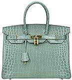 Cherish Kiss Padlock Bag Women Crocodile Leather Top Handle Handbags (35cm, Grey Blue)