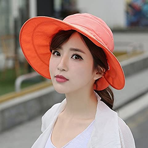 Hyun times Hat female spring and summer sun sun hat beach outdoor big anti-ultraviolet ride shopping street shade ( Color : Orange (The Middle Season 1 2 3 4)
