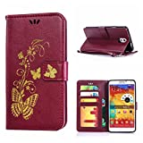 MOONCASE Galaxy Note 3 Case, Bronzing Butterfly Pu Leather Wallet Pouch Etui Flip Kickstand Case Cover for Samsung Galaxy Note 3 N9000 Bookstyle Folio [Shock Absorbent] TPU Case with Photo Frame Burgundy